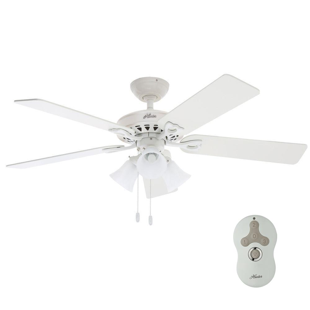 Hunter sontera 52 in indoor white ceiling fan with universal hunter sontera 52 in indoor white ceiling fan with universal remote 53114 the home depot aloadofball Images