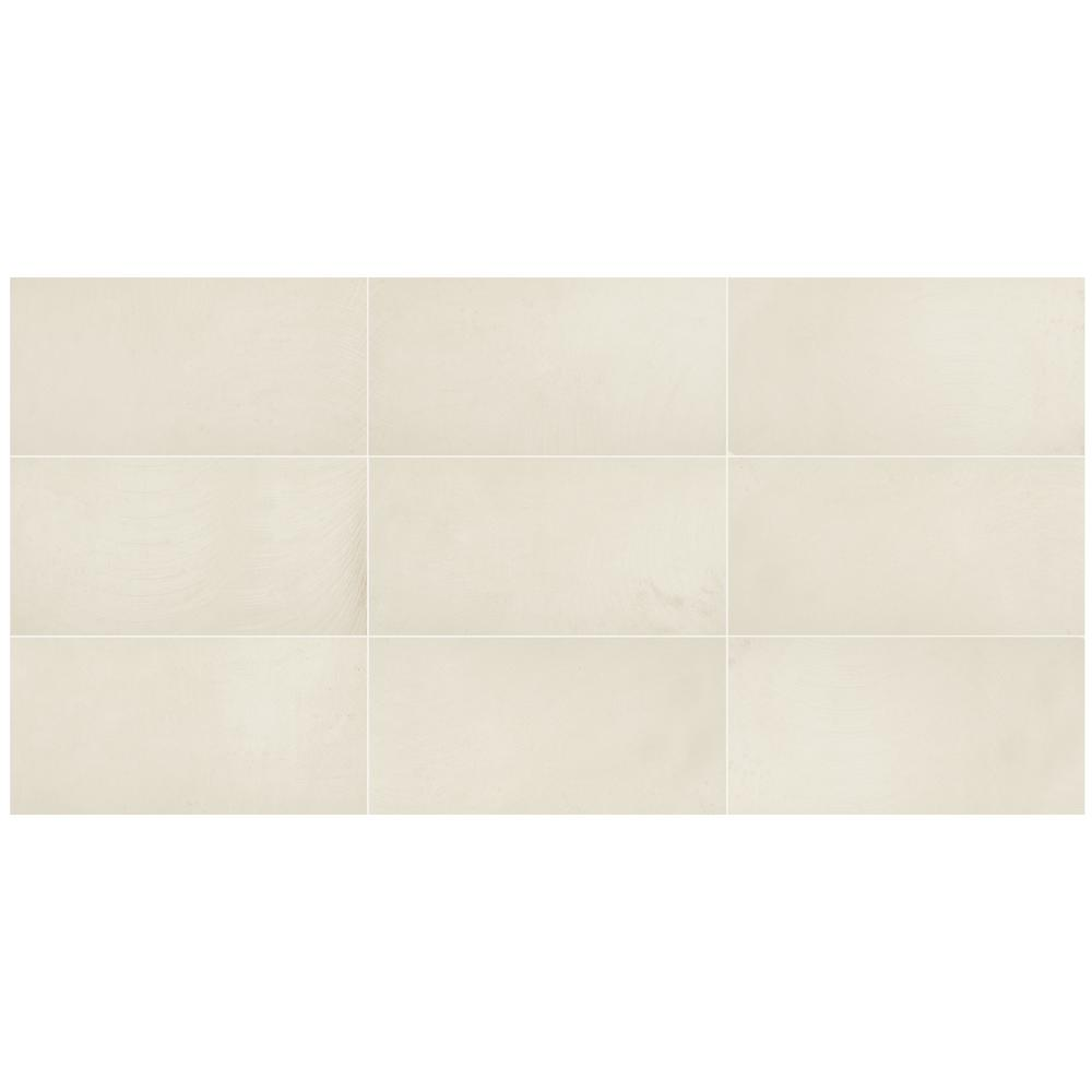 Vickery White Concrete Matte 12 in. x 24 in. Color Body