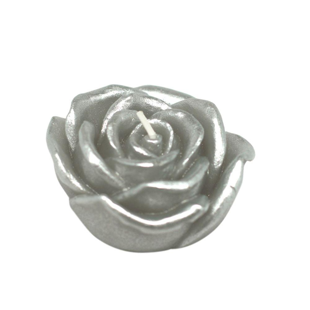 Zest Candle 3 in. Metallic Silver Rose Floating Candles (12-Box)