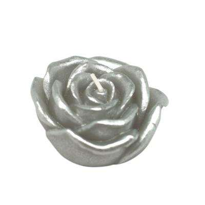 3 in. Metallic Silver Rose Floating Candles (12-Box)