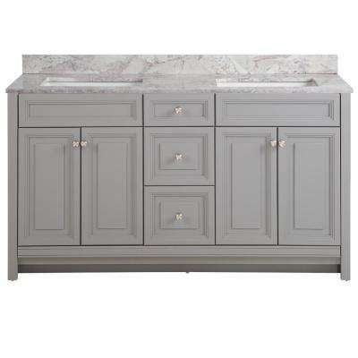 Brinkhill 61 in. W x 22 in. D Bath Vanity in Sterling Gray with Stone Effect Vanity Top in Winter Mist with White Sink