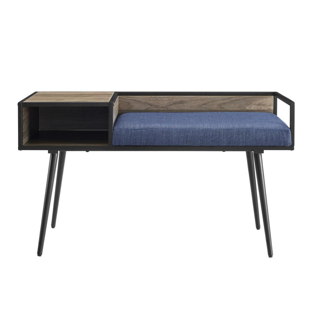 40 in. Slate Grey/Blue Cushion Modern Telephone Entry Bench