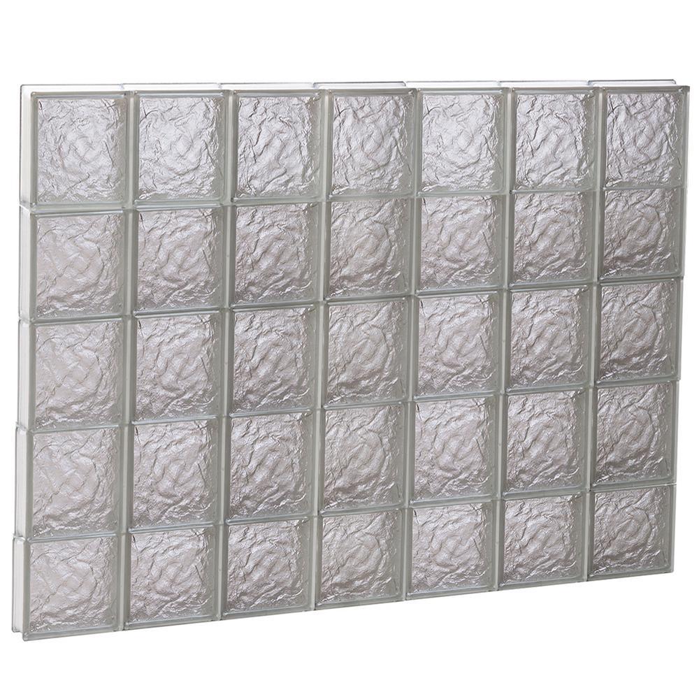 40.25 in. x 36.75 in. x 3.125 in. Frameless Ice Pattern Non-Vented Glass Block Window