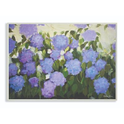 "10 in. x 15 in. ""Abstract Flower Field Landscape Blue Purple Painting"" by Melissa Lyons Wood Wall Art"