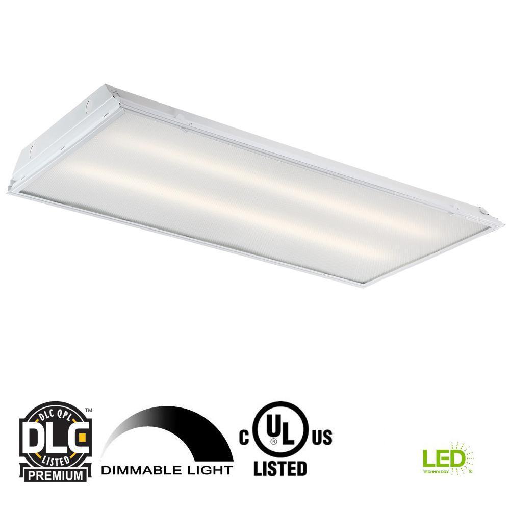 2 ft. x 4 ft. 192-Watt Equivalent White Prismatic Lens Integrated LED Commercial Grid Ceiling Troffer
