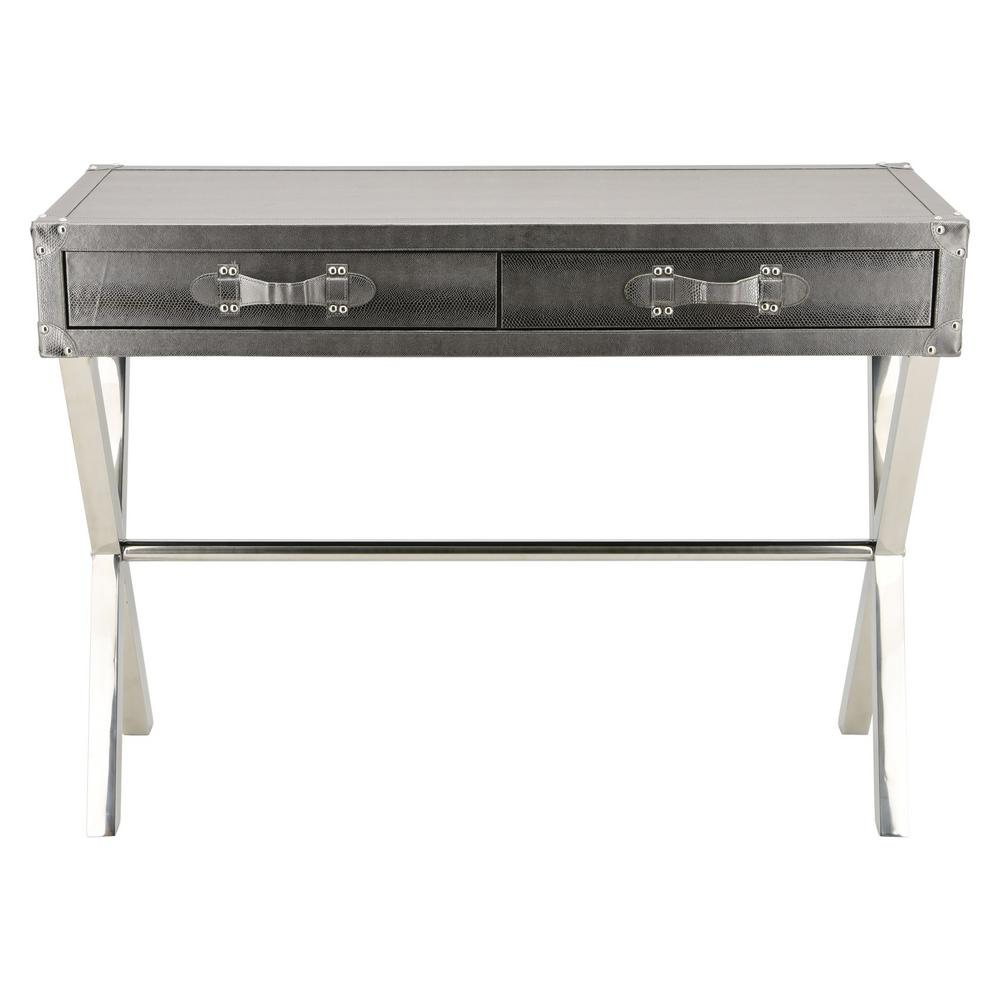 Silver Lizard Leather Console Table