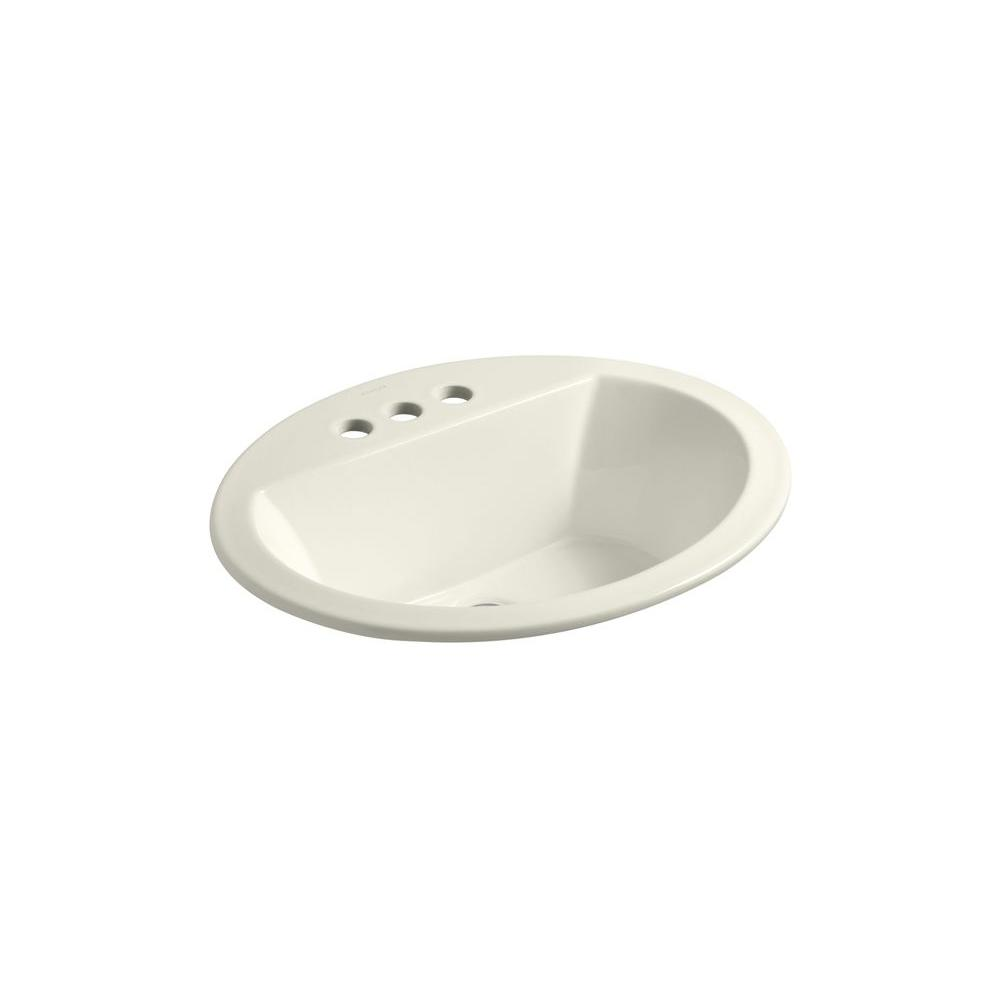 Bryant Oval Drop-In Vitreous China Bathroom Sink in Biscuit with Overflow