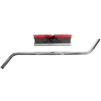 Squeegee and Scrubbing Brush Combination Vacuum Attachment with 2-Piece Chrome S-Wand for Wet/Dry Commercial Vacuums