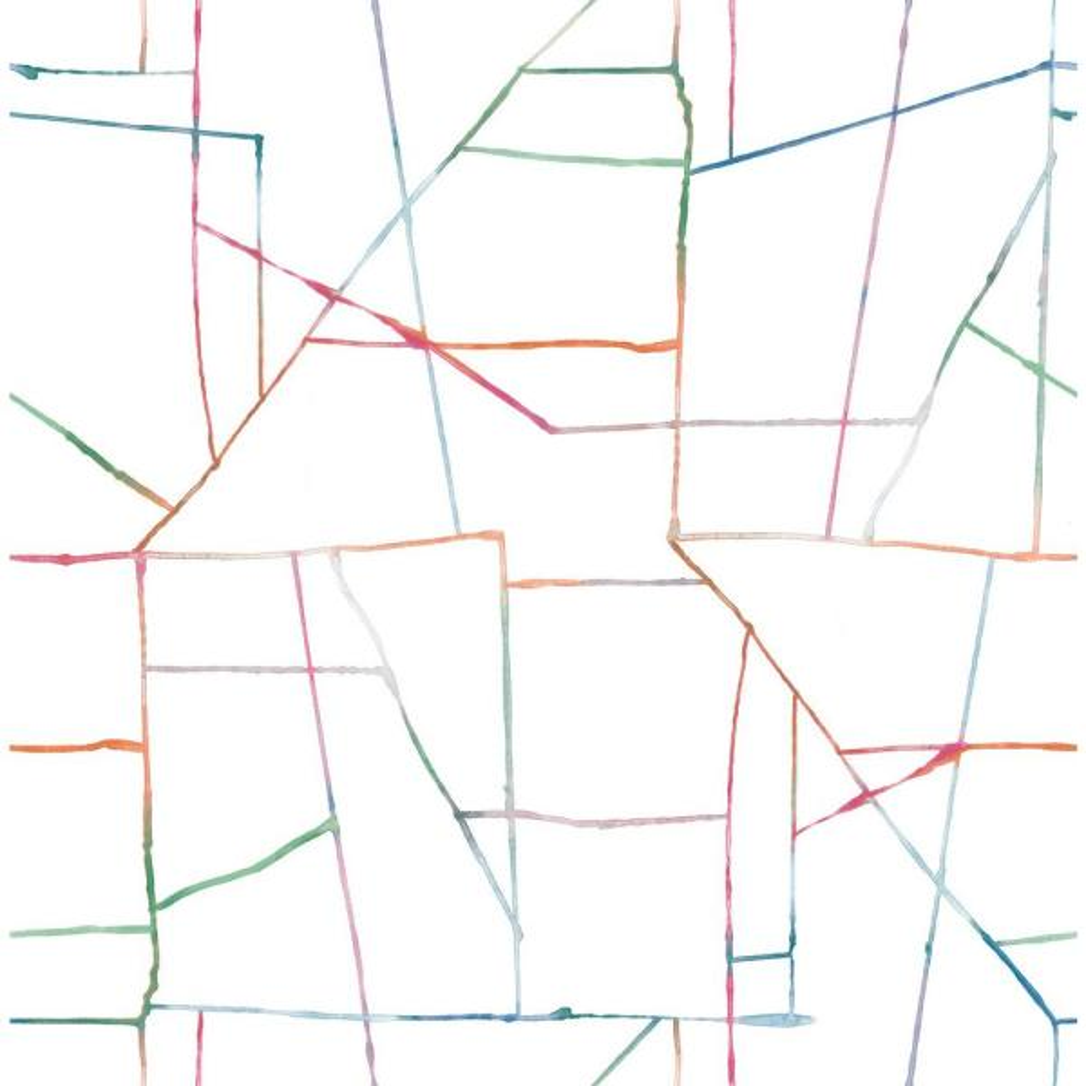 Seabrook Designs Kids Orange, Pink, and Green Watercolor Geo Wallpaper DA62101