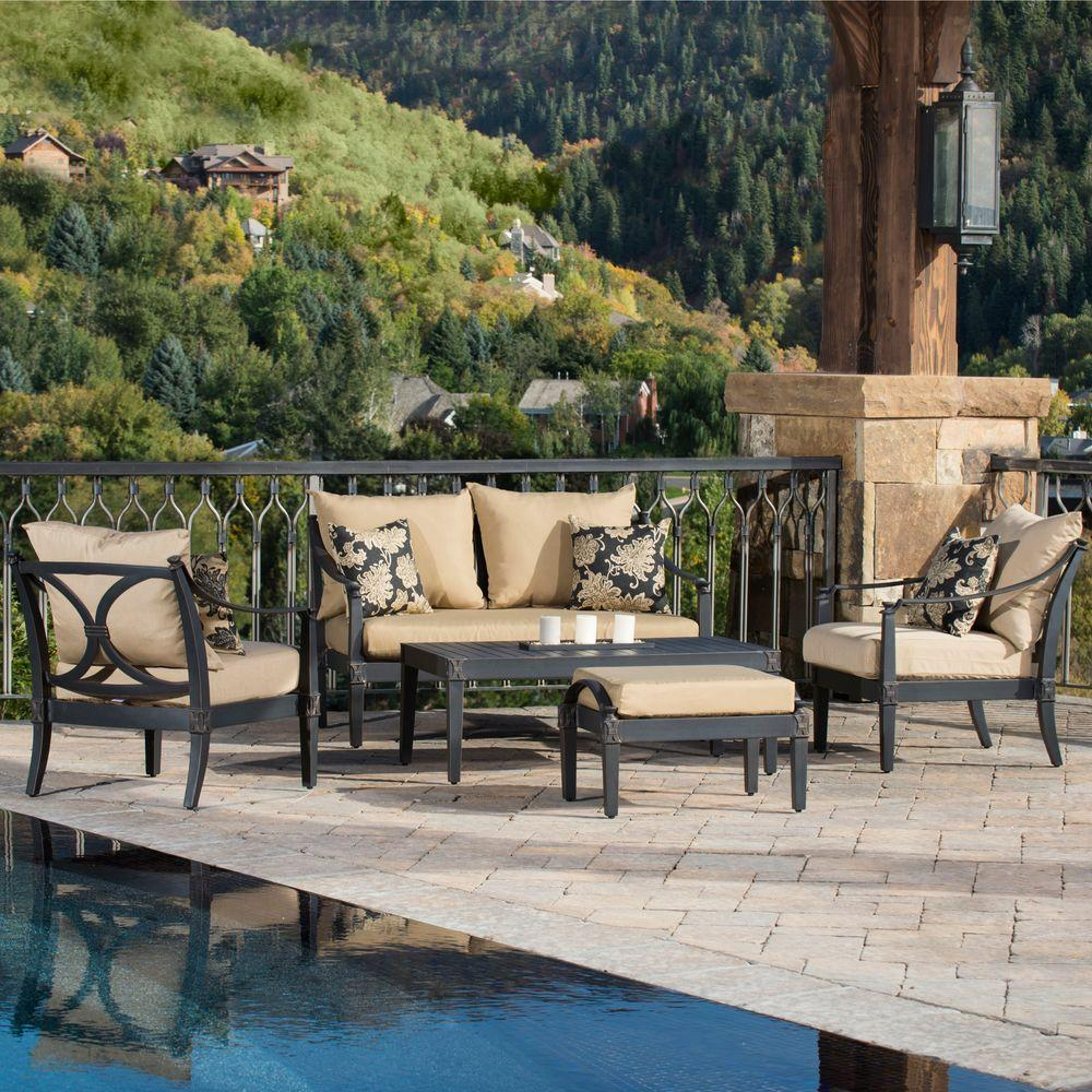 RST Brands Astoria 5-Piece Patio Seating Set with Delano Beige Cushions