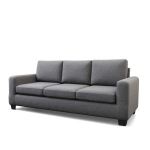 Shay 83 in. Charcoal Polyester Upholstered 3-Seater Track Arm Sofa with Square Arms