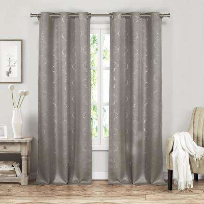 Stephanie 37 in. x 84 in. L Polyester Blackout Curtain Panel in Grey (2-Pack)