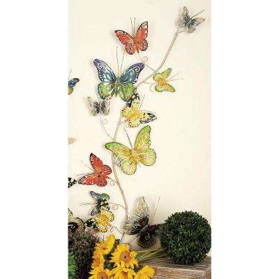 53 in. x 17 in. Iron Colored Butterflies Climbing on Vine Wall Decor