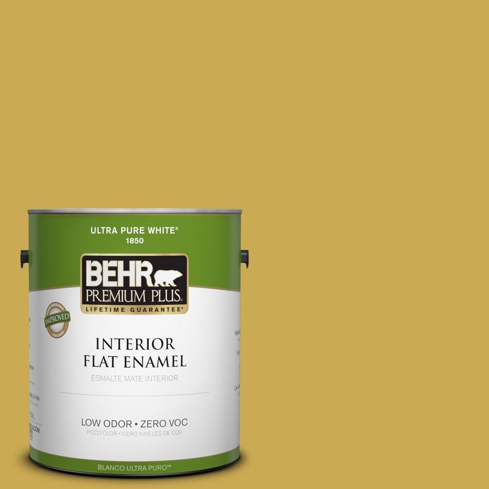 BEHR Premium Plus 1-gal. #380D-6 Leapfrog Zero VOC Flat Enamel Interior Paint-DISCONTINUED