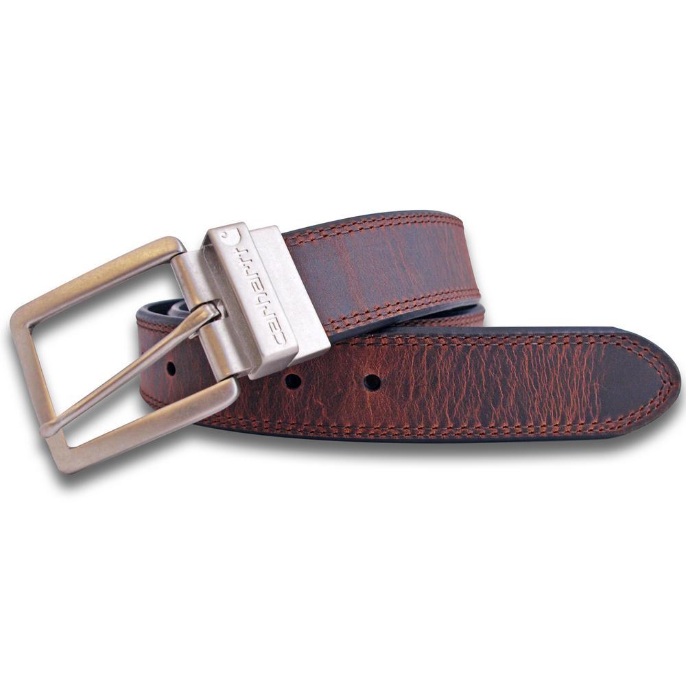 Men's Size 54 Black/ Brown Leather Reversible Belt