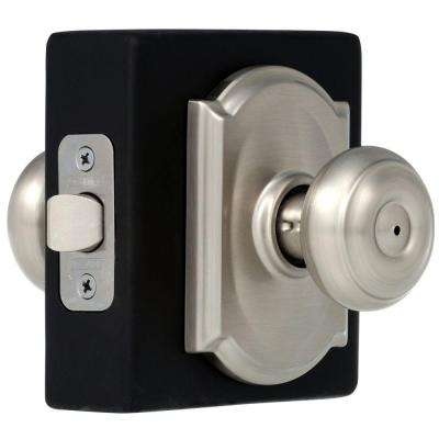 Georgian Satin Nickel Privacy Door Knob with Camelot Trim