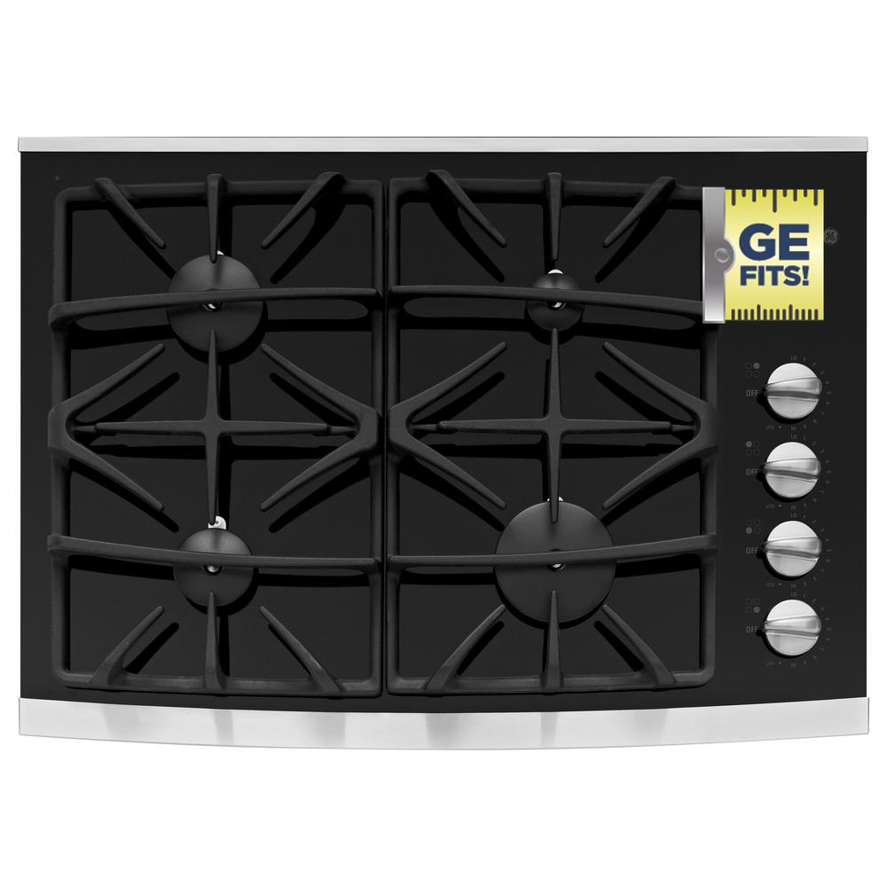 GE Profile 30 in. Gas-on-Glass Gas Cooktop in Stainless Steel with 4 Burners including Power Boil Burner