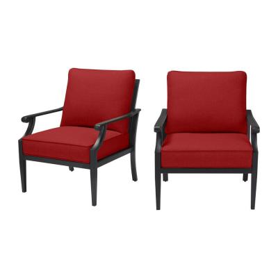 Braxton Park Black Steel Outdoor Patio Lounge Chair with CushionGuard Chili Red Cushions (2-Pack)