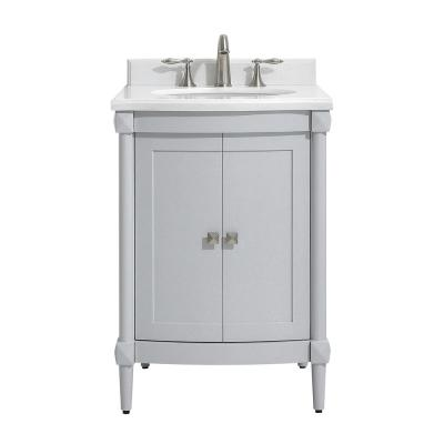Parkcrest 24 in. W x 22 in. D Vanity in Dove Grey with Marble Vanity Top in White with White Sink