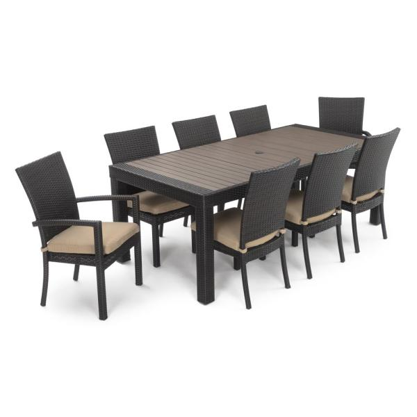 Deco 9-Piece Patio Dining Set with Maxim Beige Cushions
