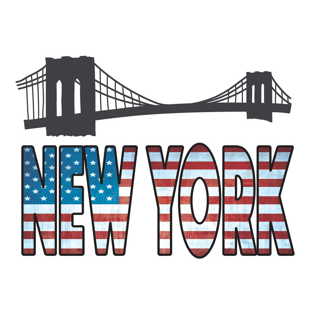 Brewster 18.5 in. x 26.4 in. New York Wall Decal, Red