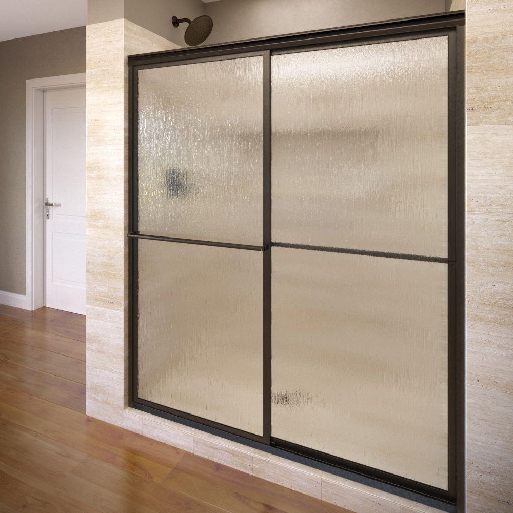Deluxe 44 in. x 68 in. Framed Sliding Shower Door in