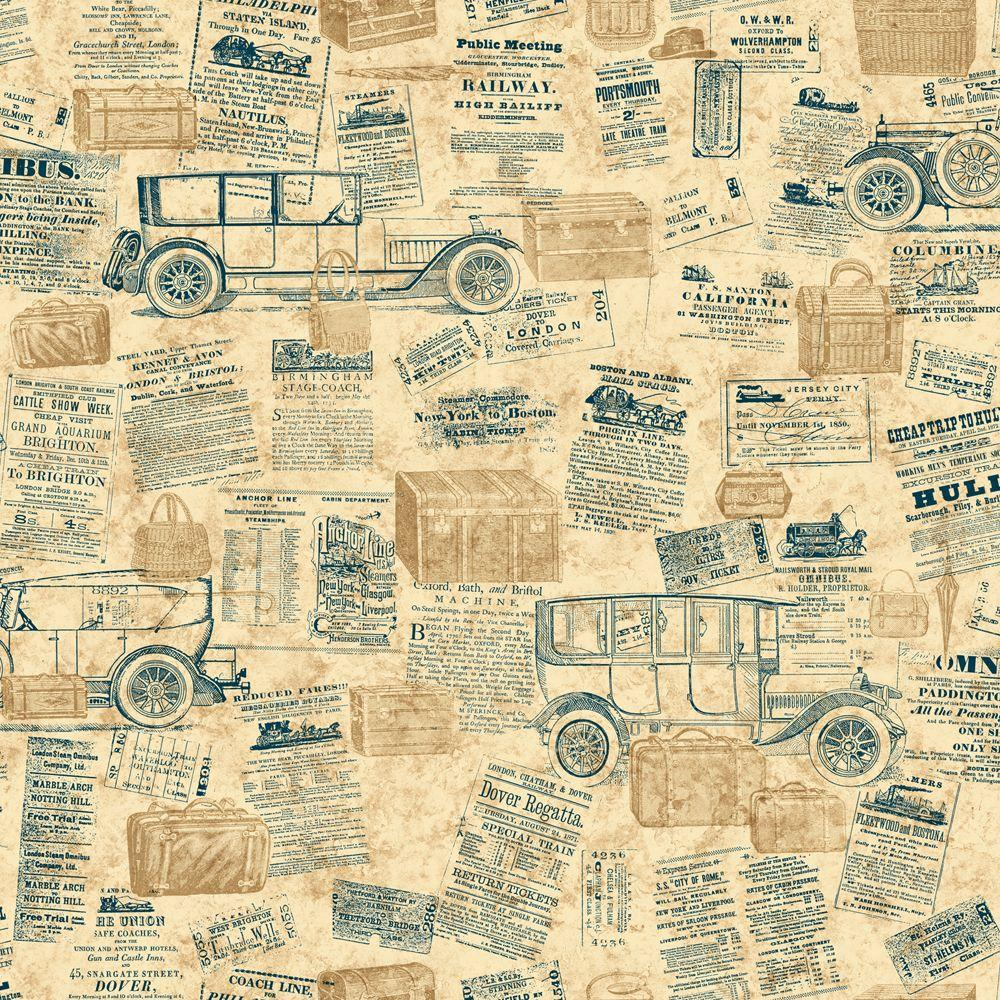 The Wallpaper Company 56 sq. ft. Blue Jewel Tone Antique Cars Wallpaper-DISCONTINUED