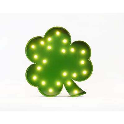 Indoor and Outdoor Green Powder-coated Steel Shamrock Plug-in Marquee Light Lighted Sign