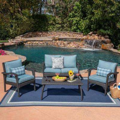 4-Piece Wicker Patio Seating Set with Teal Cushions
