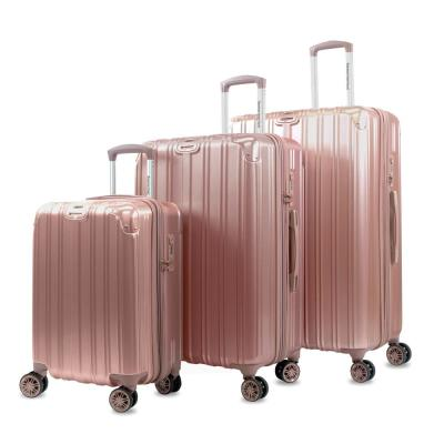 Melrose S 3-Piece Rose Gold Polycarbonate Anti-Theft Expandable Spinner Luggage Set with TSA Lock and Corner Guards