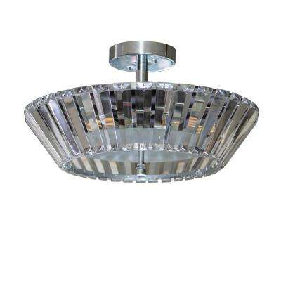 Emerson 16.5 in. 3-Light Crystal and Chrome Semi Flush Mount