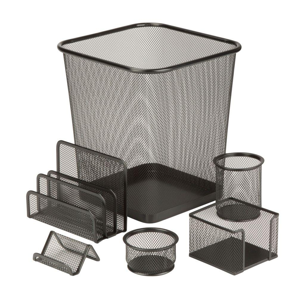 Honey Can Do 6 Piece Steel Mesh Desk Set In Black