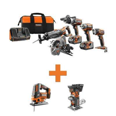 18-Volt Lithium-Ion Cordless 5-Tool Combo w/Bonus OCTANE Brushless Jig Saw & OCTANE Brushless Compact Fixed Base Router