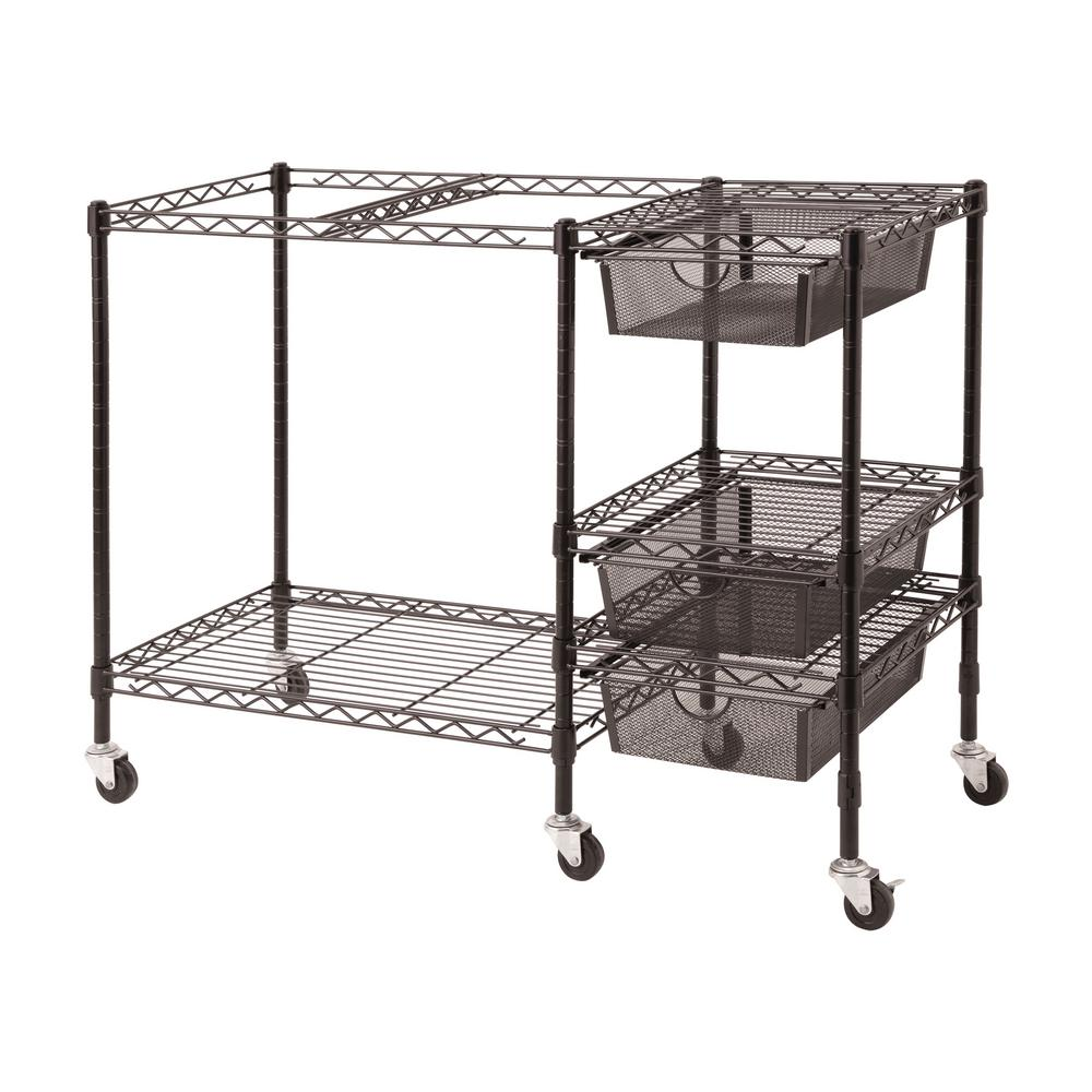 3-Drawer Steel Mobile File Cart in Black