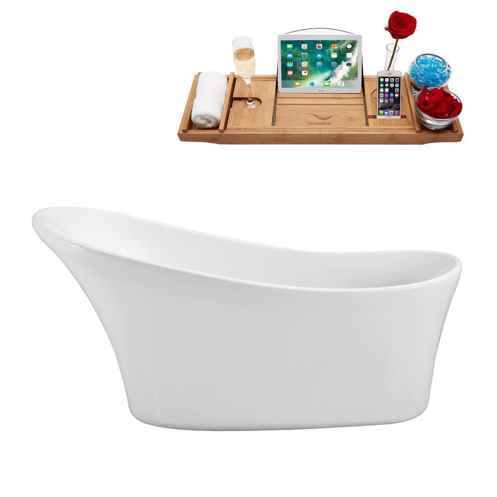 62.6 in. Acrylic Flatbottom Non-Whirlpool Bathtub in White