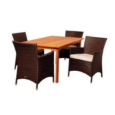Myron 5-Piece Wood Outdoor Dining Set with Beige Cushions