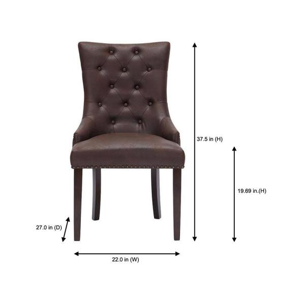 Home Decorators Collection Bardell Upholstered Tufted Dining Chair With Brown Faux Leather Seat And Nailheads Set Of 2 22 In W X 38 In H 3186 D Chair W The Home Depot