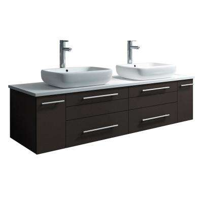 Lucera 60 in. W Wall Hung Bath Vanity in Espresso with Quartz Stone Vanity Top in White with White Basins