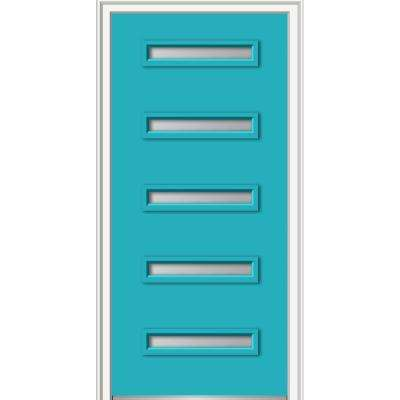 36 in. x 80 in. Davina Low-E Right-Hand Inswing 5-Lite Clear Modern Painted Fiberglass Smooth Prehung Front Door