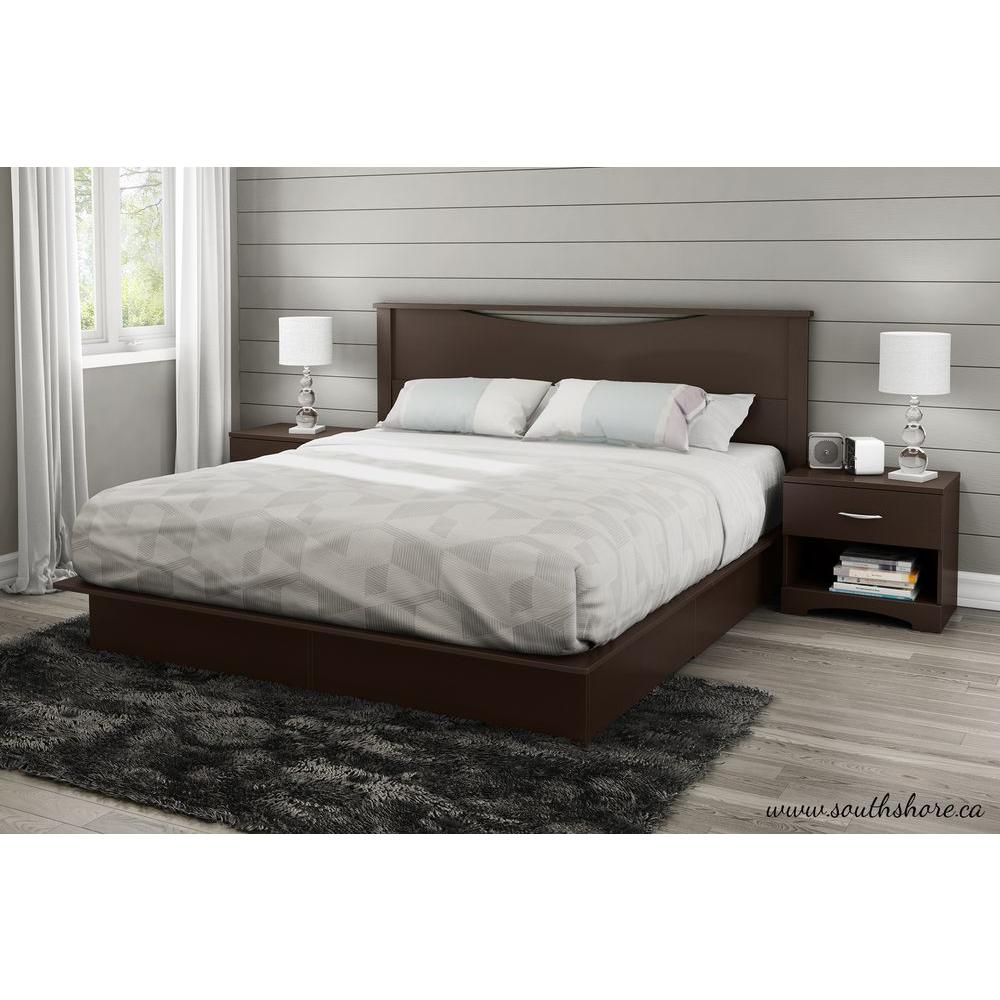 South Shore Step One  Drawer King Size Platform Bed In Chocolate