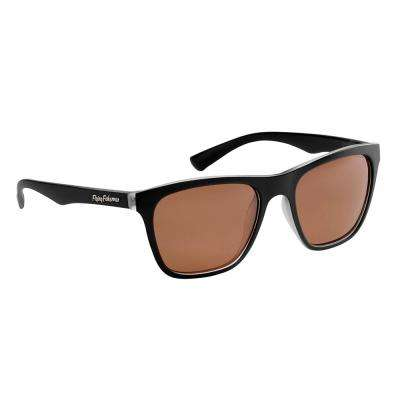 Fowey Polarized Sunglasses Crystal Matte Black Frame with Copper Lens