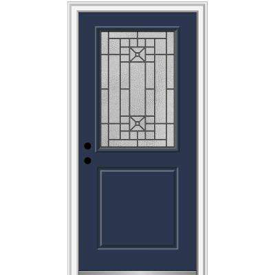 36 in. x 80 in. Courtyard Right-Hand 1/2-Lite Decorative Painted Fiberglass Smooth Prehung Front Door, 4-9/16 in. Frame