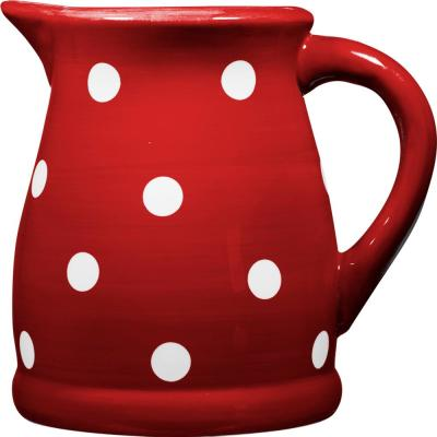 124 oz. Red and White Dots Ceramic Pitcher