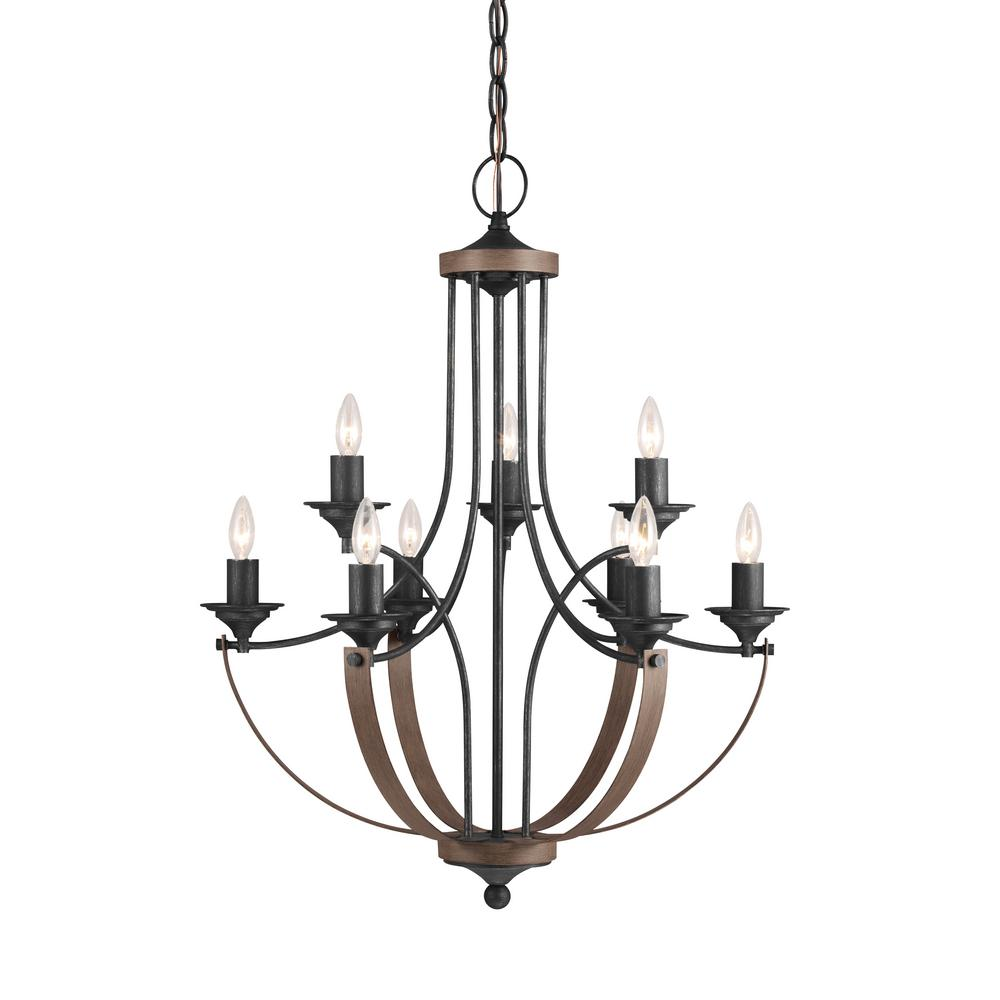 Sea Gull Lighting Corbeille 27 in. W 9-Light Weathered Gray and Distressed Oak Multi Tier Chandelier with Dimmable Candelabra LED Bulbs