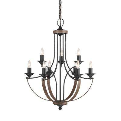 Corbeille 27 in. W 9-Light Weathered Gray and Distressed Oak Multi Tier Chandelier with Dimmable Candelabra LED Bulbs