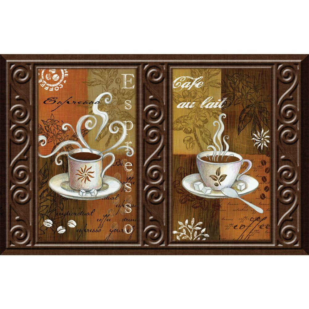 Apache Mills Luxury Chef Espresso Blocks 22 in. x 34 in. Printed Foam Mat