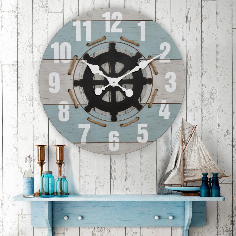 24 in. Blue Oversized Round Coastal Quartz Wall Clock