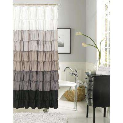silver and black shower curtain