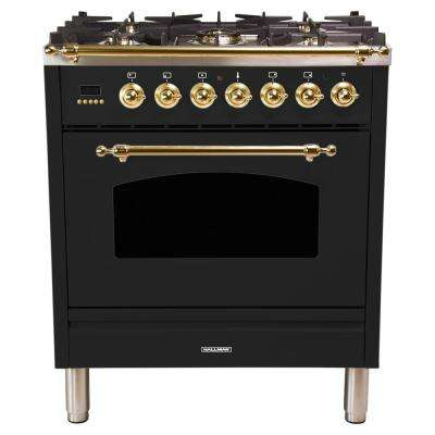 30 in. 3.0 cu. ft. Single Oven Dual Fuel Italian Range with True Convection, 5 Burners, Brass Trim in Glossy Black
