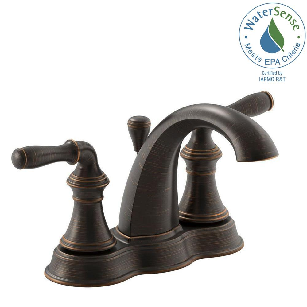 Kohler Devonshire 4 In Centerset 2 Handle Mid Arc Water Saving Bathroom Faucet Oil Rubbed Bronze